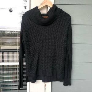 American Eagle Cable Knit Cowl Neck Sweater Gray